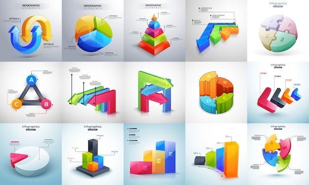 3d красочные несколько уровней временная шкала инфографический набор