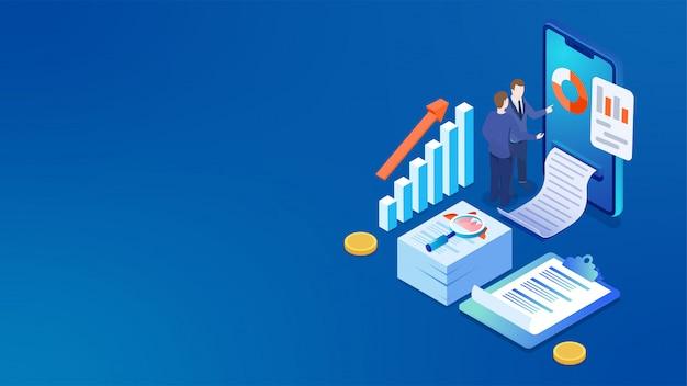 ビジネスアナリストと3dスマートフォンがデータを分析します。