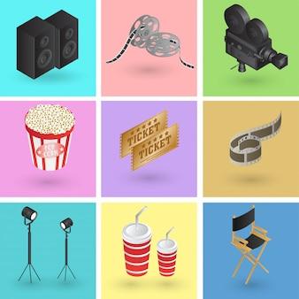 3dスタイルのカラフルな映画または映画オブジェクトのコレクション。