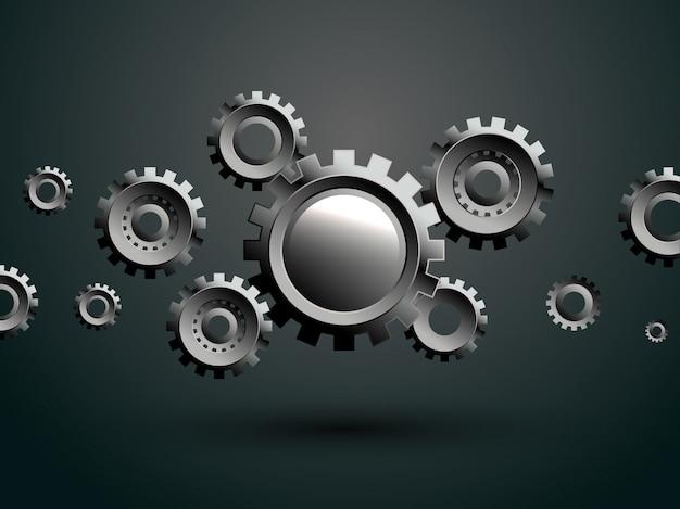 3dメタルギアホイール、イラストハイテク、エンジニアリング、デジタル通信、緑の背景に技術の概念。