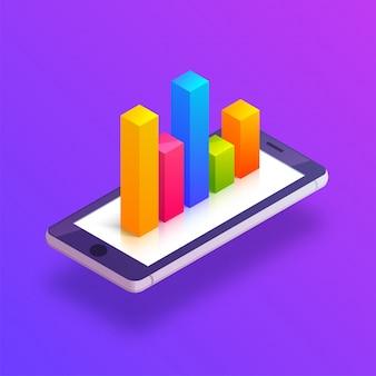 グラフ付き携帯電話の3d等角図。