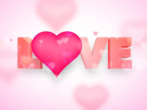 3d текст любовь и розовый форме сердца на абстрактного фона.