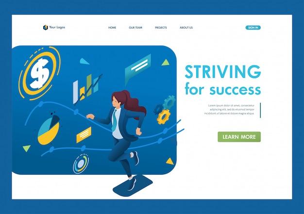 Бизнес-леди стремится к успеху, работает по намеченному графику. концепция достижения цели. 3d изометрии. концепции целевых страниц и веб-дизайн