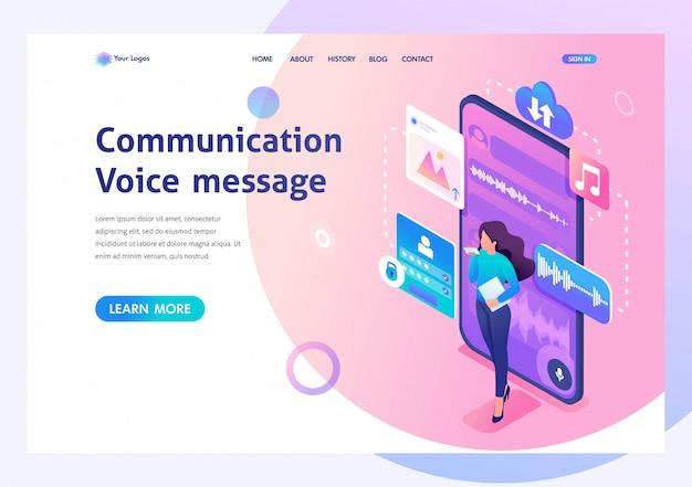 若い女の子は、音声メッセージを送信して通信します。コミュニケーションの現代。 3dアイソメトリック。