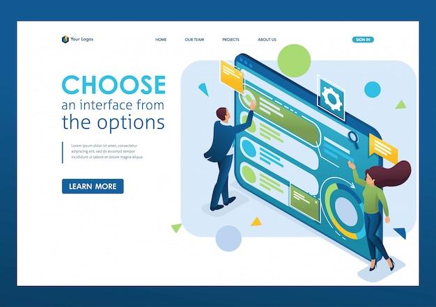 Человек выбирает интерфейс из опций, настраивает пользовательский интерфейс. 3d изометрии. концепции целевых страниц и веб-дизайн