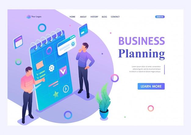 Молодые люди занимаются составлением бизнес-плана. концепция современных технологий. 3d изометрии. концепции целевых страниц и веб-дизайн