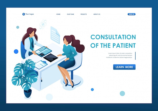 Доктор молодой женщины советует пациенту. концепция здравоохранения. 3d изометрии. концепции целевых страниц и веб-дизайн