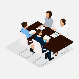 Изометрические люди, бизнесмены 3d бизнес женщина. обсуждение, согласование концепции работы, мозговой штурм. изолированные на светлом фоне