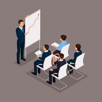 Изометрические люди, бизнесмены 3d бизнес женщина. обучение сотрудников группы офисов, бизнес тренинги, деловая ситуация. сотрудники на темном фоне