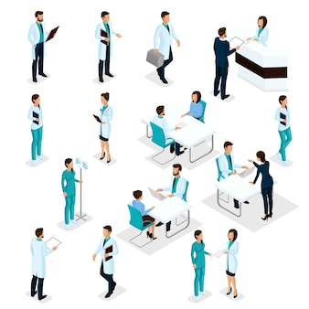 Набор изометрические врачи персонал больницы медсестра 3d хирурги и пациенты