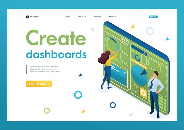 Молодые люди работают над созданием панели с индивидуальным меню. концепт дизайна. 3d изометрии. концепции целевых страниц и веб-дизайн