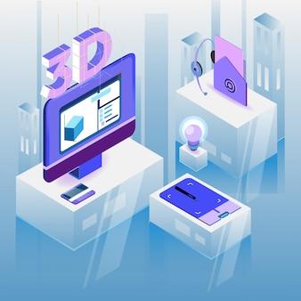 Изометрические дизайнер на рабочем месте. 3d дизайн рабочего места. векторная иллюстрация