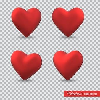 3d-сердце значок установлен на день святого валентина