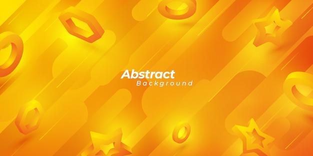 Оранжевый абстрактный фон с 3d формами.