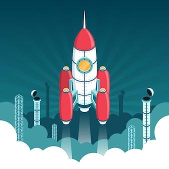 宇宙への3dアイソメトリックロケットの打ち上げ