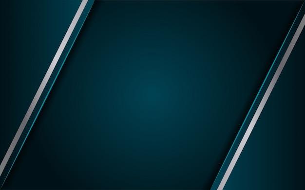 3dスタイルのラインメタリックシルバーを組み合わせた豪華なダークブルーの背景