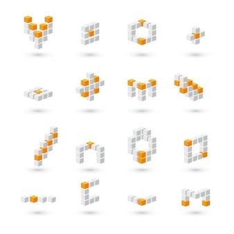 Набор 3d серых и оранжевых кубиков на белом фоне