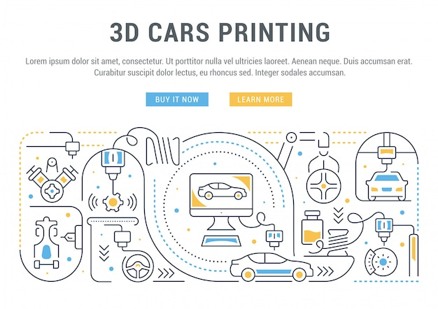 3d車の印刷の線形バナー。