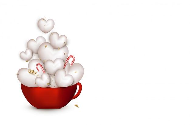 Открытка с днем святого валентина. красная чашка с милые белые 3d сердца, летающие конфетти, серпантин, леденцы на палочке. иллюстрации.