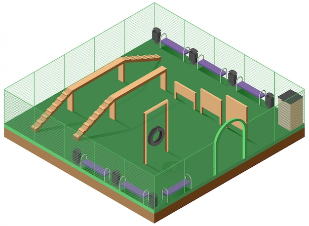 Платформа для прогулок и дрессировки собак 3d изометрии. детская площадка для собак