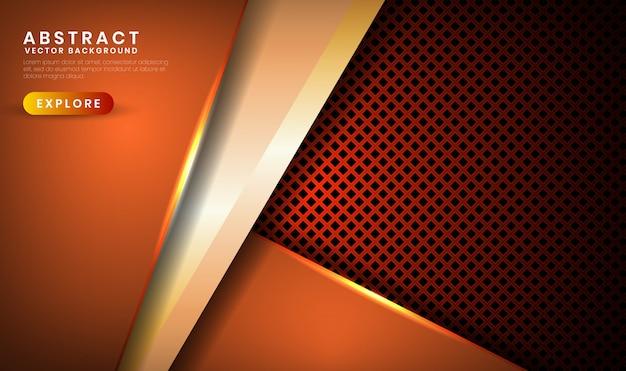 Абстрактный 3d темно-коричневый роскошный фон с металлическим ромбом, слой внахлест с оранжевым световым эффектом украшения