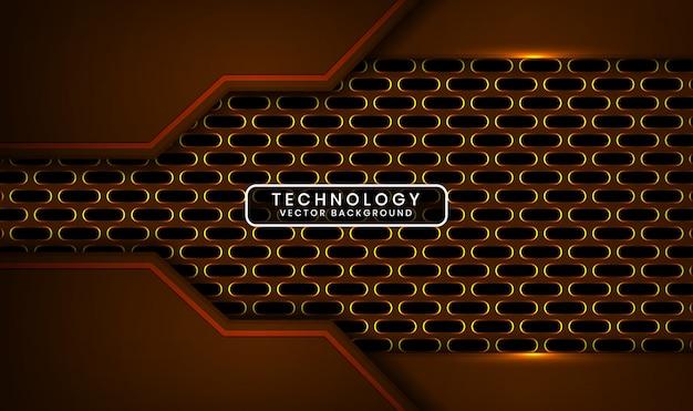 Абстрактный 3d темный технологический фон с овальным металлическим перекрывающимся слоем с желтым световым эффектом