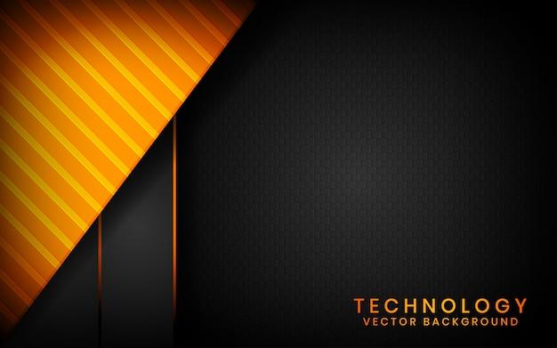 Абстрактные 3d черные технологии фон перекрывают слои на темном пространстве с оранжевым световым эффектом украшения