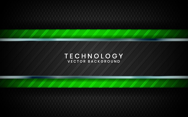 Абстрактный 3d черный фон технологии перекрывают слои на темном пространстве с украшением эффект зеленого света