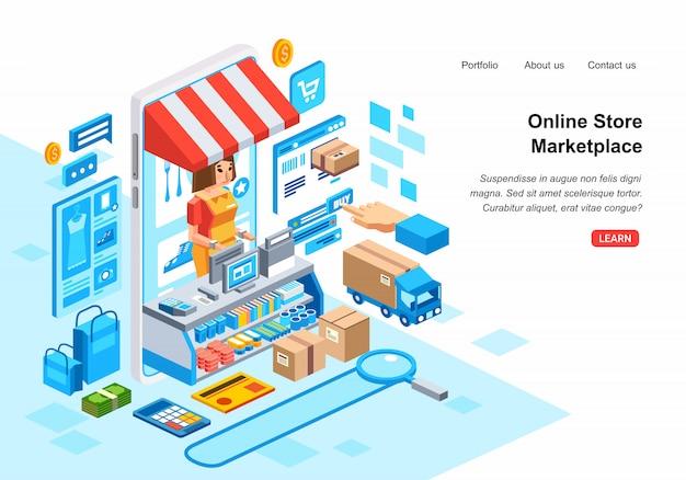 Изометрическая 3d иллюстрация системы онлайн-покупок на рынке с вектором иллюстрации смарт-телефон, администратор, кредитная карта, курьер и фондовый