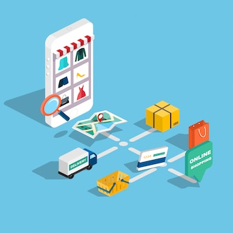 Плоские 3d веб изометрической электронной коммерции, электронный бизнес, покупки в интернете, оплата, доставка, процесс доставки, продажи, черная пятница инфографики. кнопка покупки планшета.