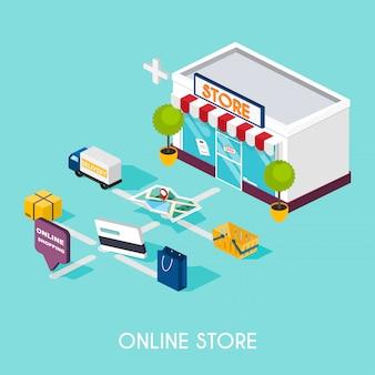 Плоские 3d веб-изометрической интернет-магазины. электронная коммерция, электронный бизнес, интернет-магазины, оплата, доставка, процесс доставки, продажи