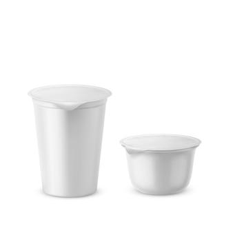 ヨーグルトプラスチック包装現実的な3dヨーグルトカップまたはジャムと乳製品