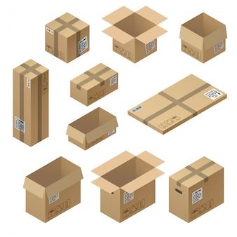 3dアイソメの段ボール箱、白の背景にある配送のためのメールのセット