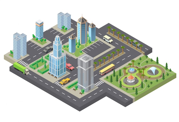 3dアイソメメガポリス、都市。高層ビル、建物、駐車場のコレクション
