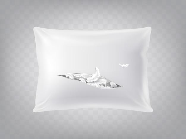 半透明の背景に隔離された3d現実的な引き裂かれた正方形の枕。テンプレート、白のモックアップ