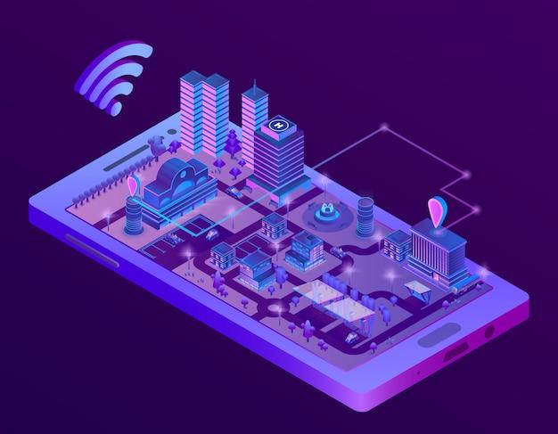 スマートフォン画面上の3dアイソメスマートシティ、ナビゲーションマーカー付き町の地図