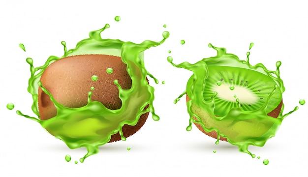 ジュースの飛沫に3d現実的な熱帯キウイ。