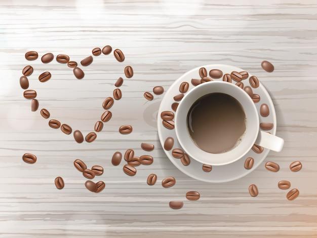 木製のテーブルに隔離されたソーサーでコーヒーの3d現実的なカップ。恋の形の豆。
