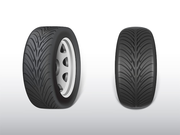 3d現実的な黒いタイヤ、車、自動車のための輝く鋼鉄およびゴムの車輪。