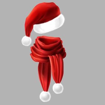 3d реалистичный шелковый красный шарф с белым мехом и головной убор санта-клауса, шляпа.