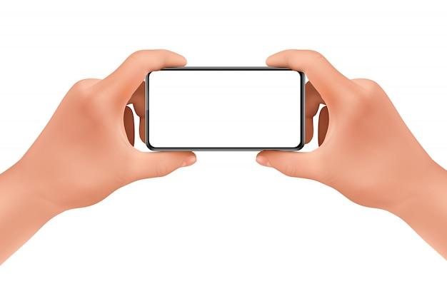 3d現実的な人間の手が写真を撮るためのスマートフォンを持っています。
