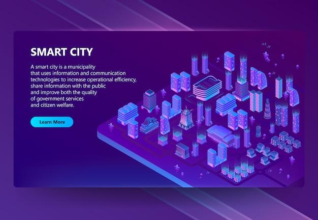 Сайт с 3d изометрическим ультрафиолетовым мегаполисом