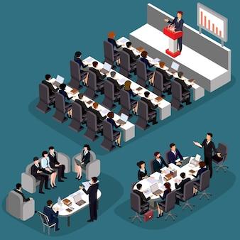 Векторные иллюстрации 3d плоских изометрических деловых людей. концепция бизнес-лидера, ведущего менеджера, генерального директора.