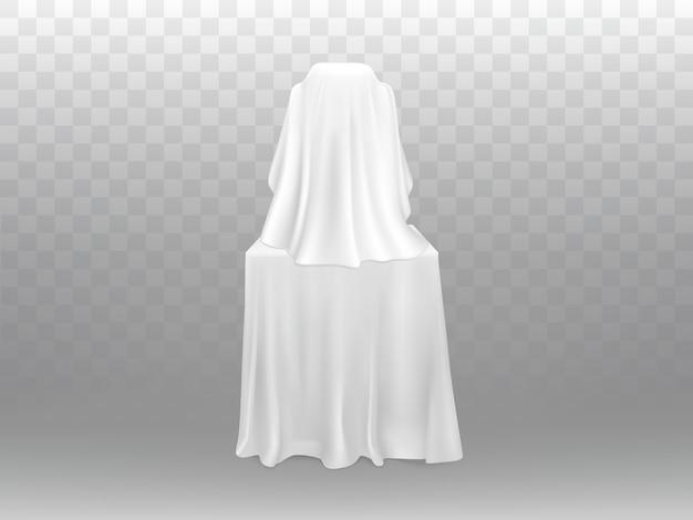 3d реалистичная концепция выставки - экспозиция под белой одеждой, изолированные на прозрачном фоне