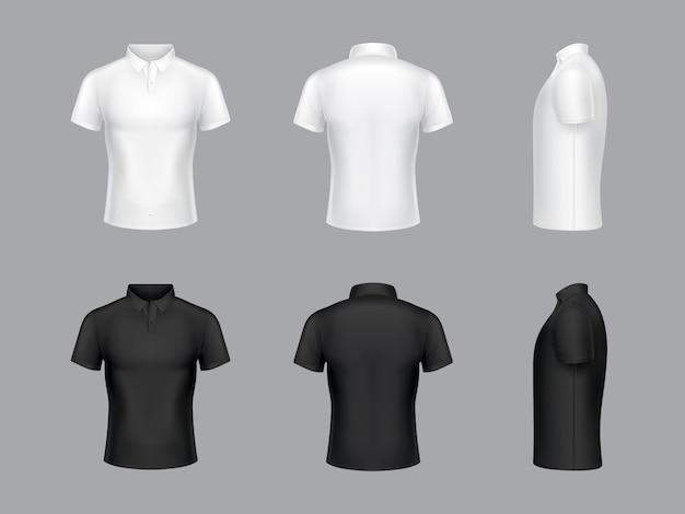 Коллекция 3d реалистичных белых и черных футболок поло. короткие рукава, дизайн одежды.