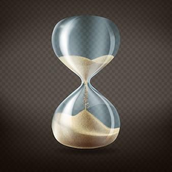 3d реалистичные песочные часы с бегом песка внутри, изолированных на темном прозрачном фоне.