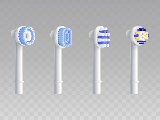 歯ブラシのための取り外し可能なノズルの3d現実的なセット。