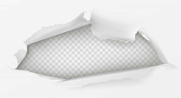Отверстие в листе белой бумаги 3d реалистично