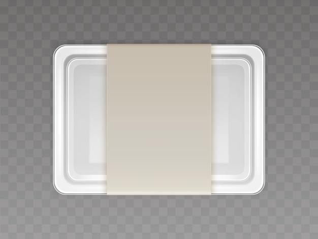Вектор 3d реалистичный пластиковый контейнер для продуктов питания, продуктов с бумажной крышкой