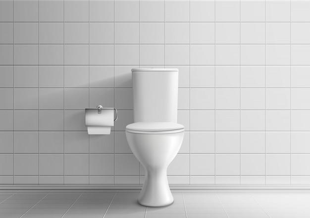 Минималистичный интерьер туалета с кафельной стеной и полом 3d реалистичный векторный макет
